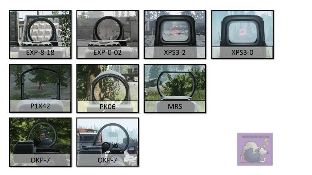 Vergleich der Visiere ohne Zoom in Escape From Tarkov